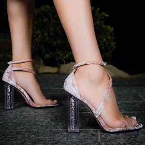 Mauve Sparkly Illusion Velvet Strappy Heels